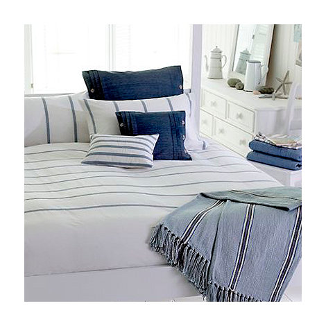 Nimbus - Blue striped +Polperro+ bed linen