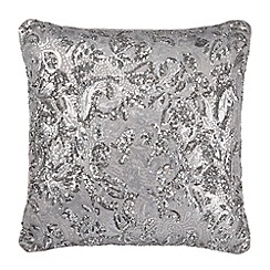 Kylie Minogue at home - Silver sequin front cushion
