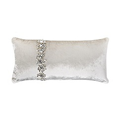 Kylie Minogue at home - Silver crystal trim velvet cushion