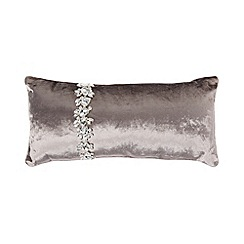 Kylie Minogue at home - Pale grey crystal trim velvet cushion