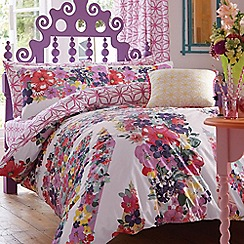 Accessorize - Purple floral 'Union Jack' bedding set