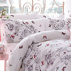 Accessorize - White butterfly print fitted sheet and pillow case set