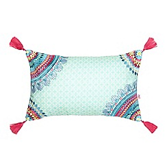 Accessorize - Aqua floral embroidered tassel cushion