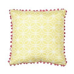 Accessorize - Yellow geometric pom pom border cushion
