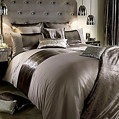 Kylie Minogue at home - Taupe shimmer bed linen