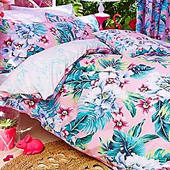 Accessorize - Pink 'Tropical Orchid' floral print fitted sheet