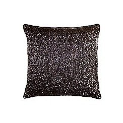 Kylie Minogue at home - Dark purple glitter cushion