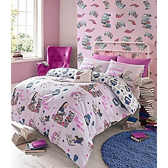 Roald Dahl - Kids' multicoloured Matilda 'Bookworm' duvet cover and pillow case set