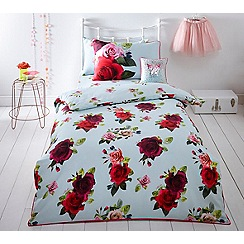 Baker by Ted Baker - Kids' multicoloured 'Tumbling Rose' single duvet cover and pillow case set