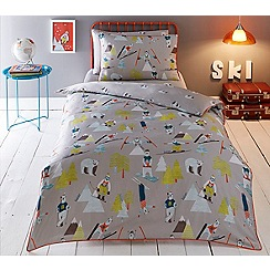 Baker by Ted Baker - Kids' multicoloured 'Skiing Bears' duvet cover and pillow case set
