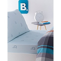 Baker by Ted Baker - Kids' blue 'B' fitted sheet and pillow case set