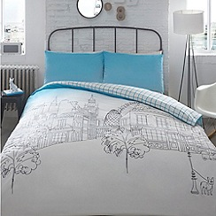 Ben de Lisi Home - Designer blue London landmark printed bedding set