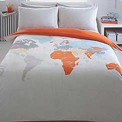 Ben de Lisi Home - Light grey world 'Map' print bedding set