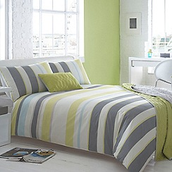 Ben de Lisi Home - Grey and lime green striped 'Lennox' bedding set
