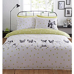Ben de Lisi Home - Lime dog printed 'Dotty About Dogs' duvet cover and pillow case