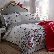 Light grey 'Butterflies' bedding set