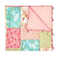 Pink patchwork bed throw