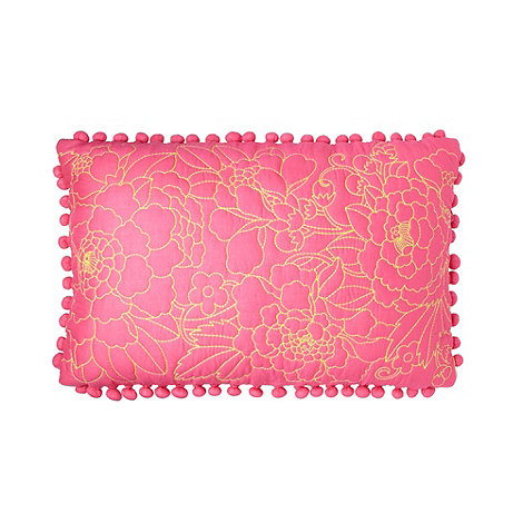 Butterfly Home by Matthew Williamson - Designer +frida+ pink embroidered pom poms trim cushion