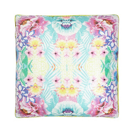 Butterfly Home by Matthew Williamson - Designer turquoise sequinned floral cushion