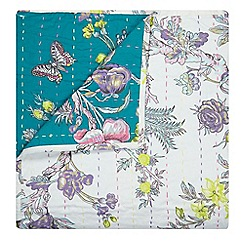 Butterfly Home by Matthew Williamson - Teal and white floral print throw