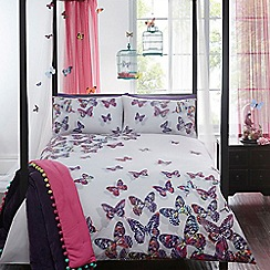 Butterfly Home by Matthew Williamson - Designer white 'Painted Butterflies' bedding set