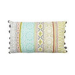 Butterfly Home by Matthew Williamson - Multi-coloured striped pom pom cushion