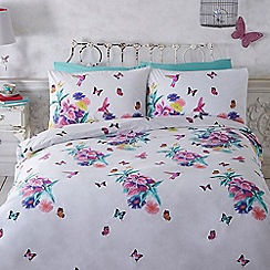 Butterfly Home by Matthew Williamson - White floral hummingbird print bedding set