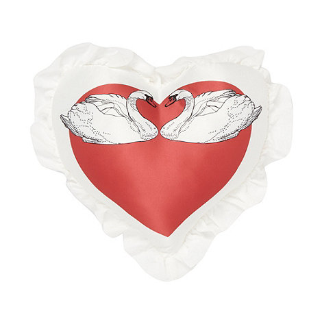 Vicki Elizabeth/EDITION - Designer white heart swan cushion