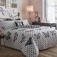 Black butterfly polka dot bed set