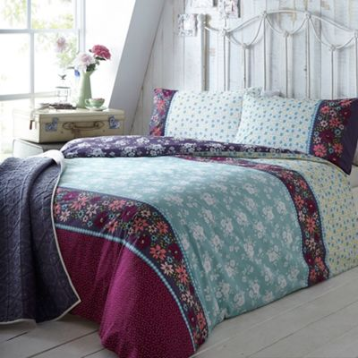At home with Ashley Thomas Aqua bouquet print bedding set - . -