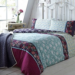 At home with Ashley Thomas - Aqua bouquet print bedding set