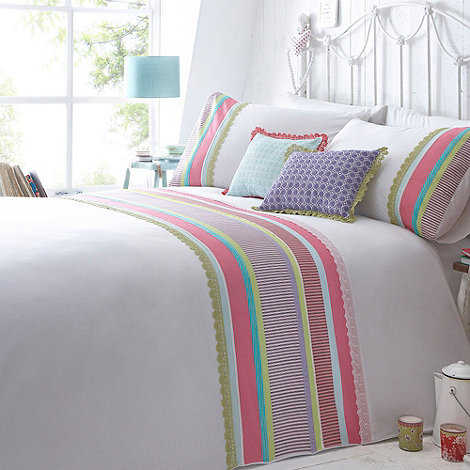 At home with Ashley Thomas - White +Ivy+ multi striped panel bedding set