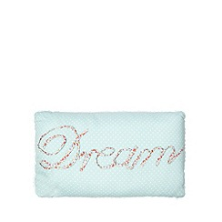 At home with Ashley Thomas - Blue 'Dream' applique spotted cushion