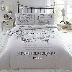 Debenhams - Cream printed 'Hotel de Paris' bedding set