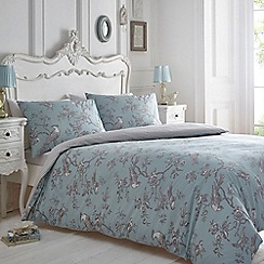 Debenhams - Blue and grey printed 'Curious Bird' bedding set