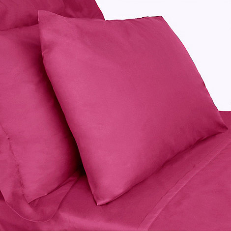 Debenhams - Pink cotton rich percale fitted sheet