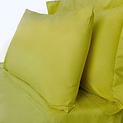 Debenhams - Lime cotton rich percale bed sheets