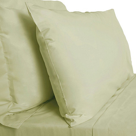 Debenhams - Light green cotton rich percale fitted sheet