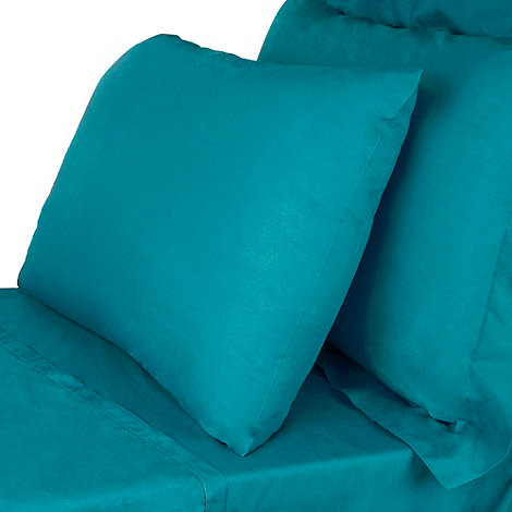 Debenhams - Blue cotton rich percale bed sheets