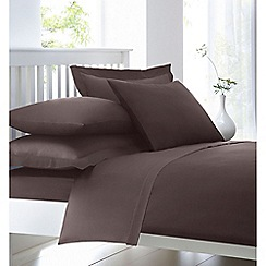 Debenhams - Light brown cotton rich percale bed sheets