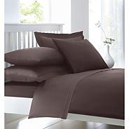 Light brown cotton rich percale bed sheets
