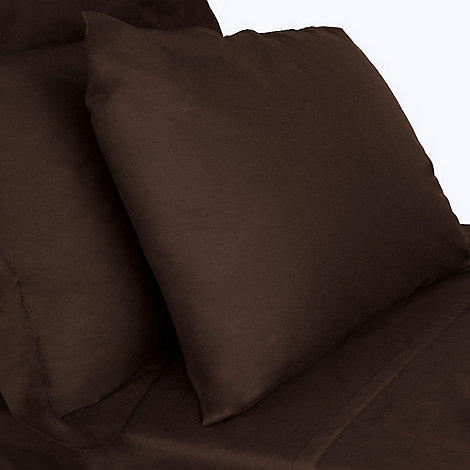 Debenhams - Dark brown cotton rich percale fitted sheet