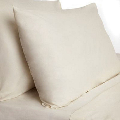 Debenhams - Natural cotton rich percale square pillowcase