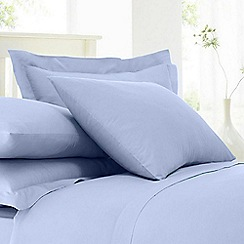 Home Collection - Pale blue 200 thread count cotton rich percale Oxford pillow case pair