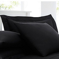Home Collection - Black cotton rich percale Oxford pillow case pair