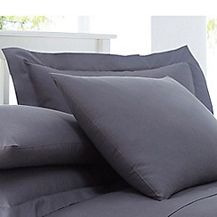 Home Collection - Grey cotton rich percale Oxford pillow case pair
