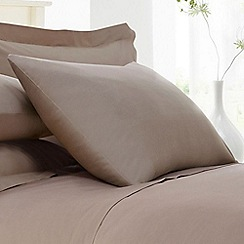 Home Collection - Light brown cotton rich percale pillow case pair