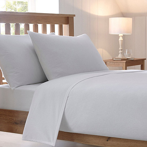 Debenhams - White 200 thread count brushed cotton flannelette fitted sheet