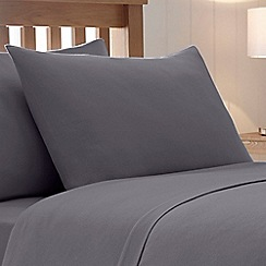 Home Collection - Grey brushed cotton flannelette 200 thread count standard pillow case pair