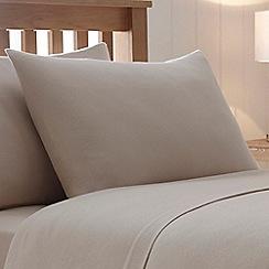 Debenhams - Beige 180 thread count brushed cotton flannelette pillow case pair
